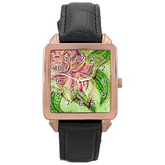 Colorful Design Acrylic Rose Gold Leather Watch