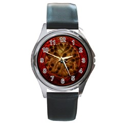 Light Picture Cotton Buds Round Metal Watch