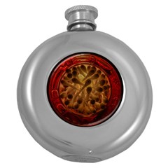 Light Picture Cotton Buds Round Hip Flask (5 Oz)
