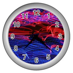 Lights Abstract Curves Long Exposure Wall Clocks (silver)