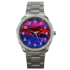 Lights Abstract Curves Long Exposure Sport Metal Watch