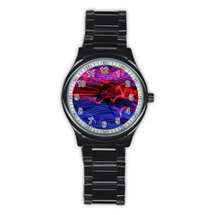 Lights Abstract Curves Long Exposure Stainless Steel Round Watch