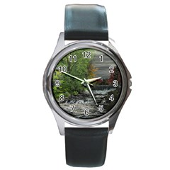 Landscape Summer Fall Colors Mill Round Metal Watch