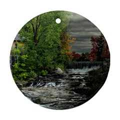 Landscape Summer Fall Colors Mill Ornament (round)