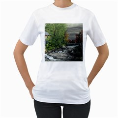 Landscape Summer Fall Colors Mill Women s T Shirt (white) (two Sided)
