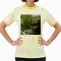 Landscape Summer Fall Colors Mill Women s Fitted Ringer T Shirts