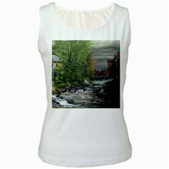 Landscape Summer Fall Colors Mill Women s White Tank Top