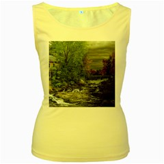 Landscape Summer Fall Colors Mill Women s Yellow Tank Top