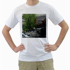 Landscape Summer Fall Colors Mill Men s T Shirt (white) (two Sided)