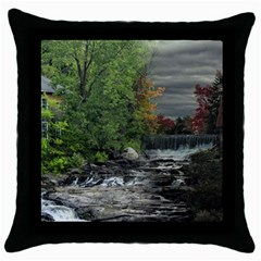Landscape Summer Fall Colors Mill Throw Pillow Case (black)
