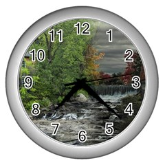 Landscape Summer Fall Colors Mill Wall Clocks (silver)