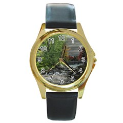 Landscape Summer Fall Colors Mill Round Gold Metal Watch