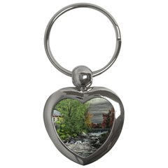 Landscape Summer Fall Colors Mill Key Chains (Heart)
