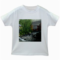 Landscape Summer Fall Colors Mill Kids White T-Shirts
