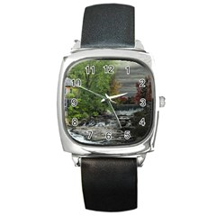 Landscape Summer Fall Colors Mill Square Metal Watch