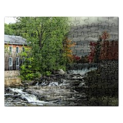 Landscape Summer Fall Colors Mill Rectangular Jigsaw Puzzl