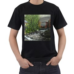 Landscape Summer Fall Colors Mill Men s T Shirt (black) (two Sided)