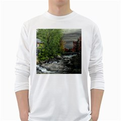 Landscape Summer Fall Colors Mill White Long Sleeve T Shirts