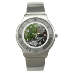 Landscape Summer Fall Colors Mill Stainless Steel Watch