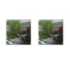 Landscape Summer Fall Colors Mill Cufflinks (square)