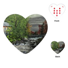 Landscape Summer Fall Colors Mill Playing Cards (heart)