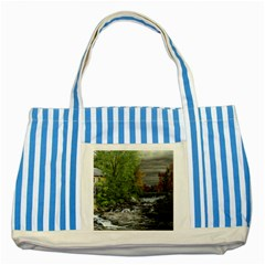 Landscape Summer Fall Colors Mill Striped Blue Tote Bag