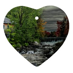 Landscape Summer Fall Colors Mill Heart Ornament (2 Sides)