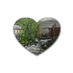 Landscape Summer Fall Colors Mill Rubber Coaster (Heart)