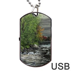 Landscape Summer Fall Colors Mill Dog Tag Usb Flash (two Sides)