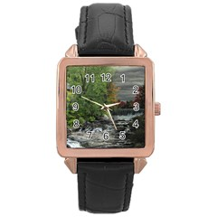 Landscape Summer Fall Colors Mill Rose Gold Leather Watch
