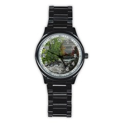 Landscape Summer Fall Colors Mill Stainless Steel Round Watch