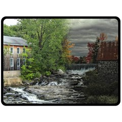 Landscape Summer Fall Colors Mill Double Sided Fleece Blanket (large)