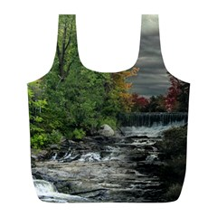 Landscape Summer Fall Colors Mill Full Print Recycle Bags (l)