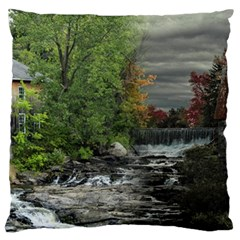 Landscape Summer Fall Colors Mill Large Flano Cushion Case (two Sides)