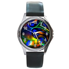 Light Texture Abstract Background Round Metal Watch