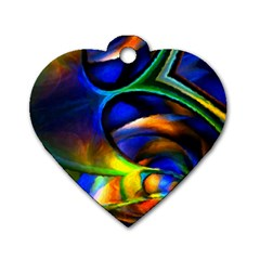 Light Texture Abstract Background Dog Tag Heart (one Side)