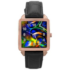 Light Texture Abstract Background Rose Gold Leather Watch