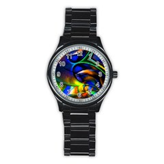 Light Texture Abstract Background Stainless Steel Round Watch