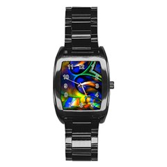 Light Texture Abstract Background Stainless Steel Barrel Watch