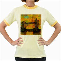 London Tower Abstract Bridge Women s Fitted Ringer T Shirts