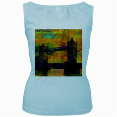 London Tower Abstract Bridge Women s Baby Blue Tank Top