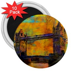 London Tower Abstract Bridge 3  Magnets (10 Pack)