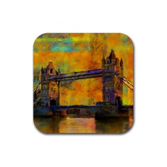 London Tower Abstract Bridge Rubber Square Coaster (4 Pack)