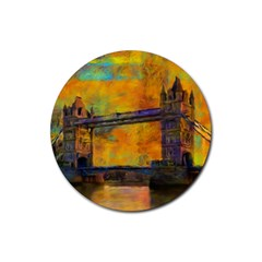 London Tower Abstract Bridge Rubber Coaster (round)