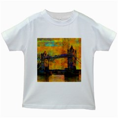 London Tower Abstract Bridge Kids White T Shirts