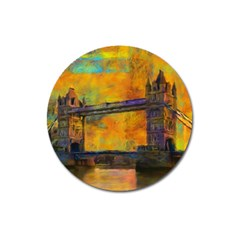 London Tower Abstract Bridge Magnet 3  (round)