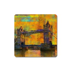 London Tower Abstract Bridge Square Magnet