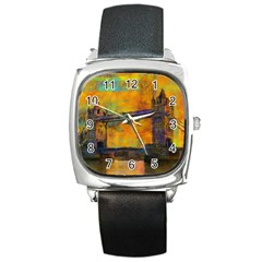 London Tower Abstract Bridge Square Metal Watch