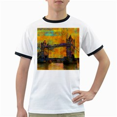 London Tower Abstract Bridge Ringer T-Shirts