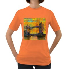London Tower Abstract Bridge Women s Dark T Shirt
